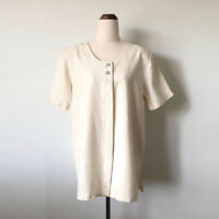 Vintage NEW CREW Cream Natural Raw Silk Longline Top Button Up Shirt Size 10-12