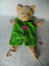 Anna Club Plush beige cat  Baby Comforter Rattle Soft Toy Green Dungaree 13""