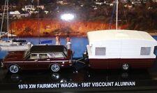 1970 BURGANDY Ford Falcon XW Fairmont Wagon & 1967 Viscount Caravan 1:64 DieCast