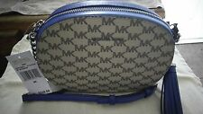 NWT Michael Kors MK Signature Ginny Messenger/Crossbody Natural/Electric Blue