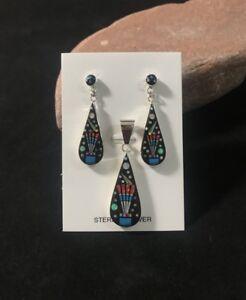 Micro Inlay 925 Sterling Silver Southwest Multi Stone Pendant Earrings Set