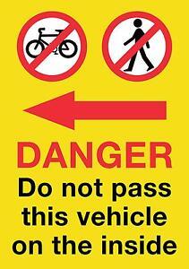 HGV/VAN/COACH Pedestrian Cyclist Warning Sticker 21x15cm Screen Printed Free P&P