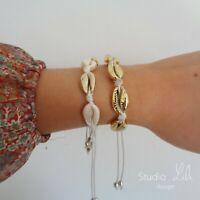2 Bracelets coquillages dorés cordon blanc Studio LiLi