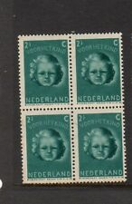 NETHERLANDS 1945 CHILD WELFARE 2 1/2c + 3 1/2c BLOCK OF 4 MNH