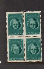 NETHERLANDS 1945 CHILD WELFARE 2 1/2c + 3 1/2c BLOCK OF 4 MNH