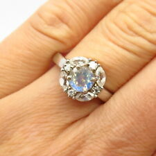 925 Sterling Silver Real White Topaz Gemstone & Opalite Glass Ring Size 7