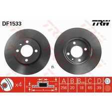 TRW 2x Brake Discs Vented Painted Black DF1533