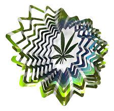 WorldaWhirl Whirligig 3D Cannabis Leaf Wind Spinner Stainless Kinetic Twister