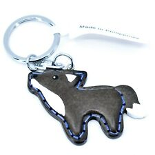 "Northwoods Layered Wood 3D Stitched Design Howling Wolf 1.5"" Keychain"