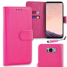 Flip PU Leather Wallet Case Cover for Samsung Galaxy S8 Plus + Mini Stylus