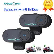 800M BT Interphone Motorcycle Motorbike Bluetooth Intercom FM Headsets Helmet x2