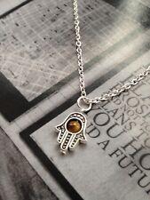 Tibetan Silver Hamsa Hand, Hand of Fatima, Evil Eye necklace tiger eye bead UK