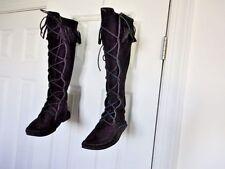 TALL MINNETONKA sz 9 MOCCASINS LACE-UP KNEE HI Black SUEDE LEATHER Fringe Boots