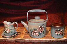 Decorative Metal Teapot Sugar Bowl Creamer Raised Pink Rose Design Signed Billye