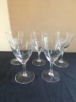 "SET OF 5 Cut Crystal Swirl Pattern 6-1/2"" Stem Water Goblets 10-oz Germany 1950s"