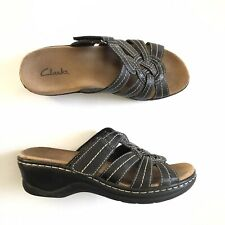 Clarks Black Leather White Stitching Slides Sandals Womens Size 6.5 Slip On