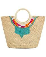 INC Women's Natural Straw Beaded Necklace Tote Handbag NWT MSRP $99 B1
