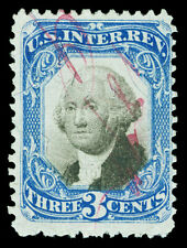 Scott R105 1871 3c Second Issue Revenue Used Fine Magenta Cancel Cat $75