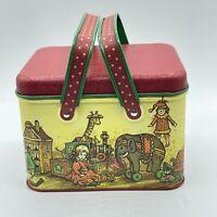 Vintage Potpourri Press Metal Tin Picnic Basket Style Toy Room Handled Tin