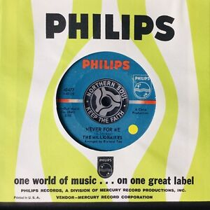 THE MILLIONAIRES *Orig* NEVER FOR ME * WIGAN CASINO CLASSIC NORTHERN SOUL ❤️
