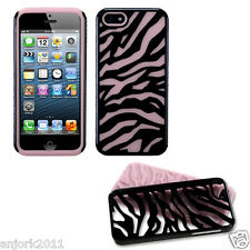 APPLE iPHONE 5 HARD ZEBRA FUSION HYBRID CASE SKIN COVER ACCESSORY BLACK/PINK