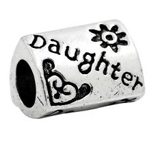 Daughter Family Love Flower Spacer Charm Mother Gift for European Bead Bracelets