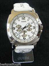 NEW GUESS BRAIDED WHITE LEATHER BAND+MULTI-FUNCTION DIAL UNISEX WATCH-I13064L1