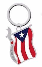 """I """"LOVE"""" Puerto Rico  """"Wavy Flag"""" Key Chain"""