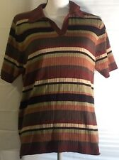 Ladies White Stag Short Sleeve V-Neck Top Shirt Size Large (12/14) Green Brown