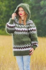 Green sweater Icelandic mohair jumper hood hand knitted fuzzy soft pullover SALE