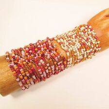 Set of 2 Pink Gold Orange Multi Strand Handmade Stretch Seed Bead Cuff Bracelets
