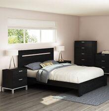 4 Piece Black Queen Size Platform Bed Frame Headboard Set Home Bedroom Furniture