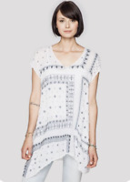 💕 JOHNNY WAS Asymmetrical Embroidered BANDANA Long Tunic Dress  M $228 💕
