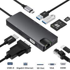8 in 1 USB C Hub Adapter zu VGA HDMI RJ45 Ethernet Splitter USB 3.0 Kartenleser