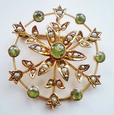 Peridot & Seed Pearl Brooch c1885 Stunning Antique Victorian 9ct Gold Circular