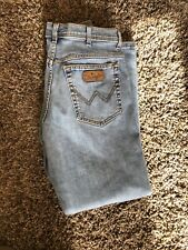 Mens WRANGLER W34 L32 Texas Stretch Denim Blue Jeans - Great Condition