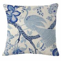 Vintage Blue Flowers Bird Cotton Linen Throw Pillow Case Cushion Cover Decor New