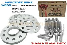 4pc 3mm & 15mm 66.6 I.D Wheel Spacer Kit With 12x1.5 Bolts (Fits Mercedes Benz)