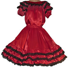 """New RED SQUARE DANCE BLOUSE SKIRT SIZE SMALL WAIST 25""""-31"""""""