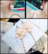 Flower pendant drop dangle earrings pink UK