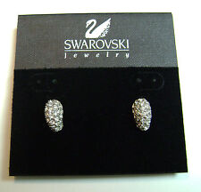 SWAROVSKI  EARRINGS SILVER AND GOLD TONE WITH CLEAR CRYSTALS 14K STAMPED POSTS