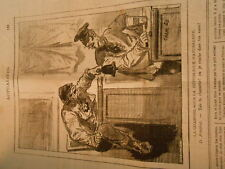 Caricature 1879 Naturaliste Tais ta claquette cloche ou je crache dans ton verre