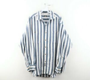 Vintage 90s Streetwear Mens Large Double Pocket Striped Distressed Button Shirt