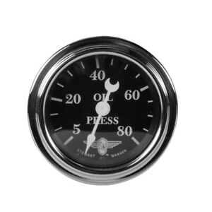 Stewart Warner 82476 Wings Mechanical Oil Pressure Gauge, Black