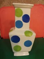 MID-CENTURY LOOK POLKA DOT VASE ,SQUARE BOTTOM,TAPERS TO TOP,FUNKY,FUN,STYLE