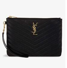 YSL SAINT LAURENT Monogram Matelassé Calfskin Black Leather Wristlet Pouch $695