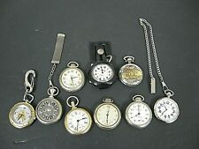 Lot of 9 Vintage Pocket Watches for Parts/Repair 2 Chains WESTCLOX SUNMARK ECT