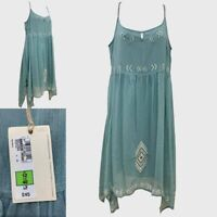 NEW RRP £45 Ex M&S Indigo Collection Fab Floaty Strappy Duck Egg Blue Dress