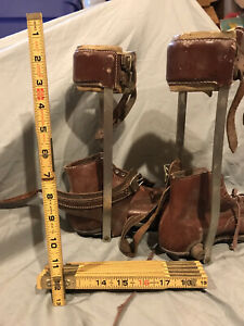 Vintage Pair Of Leather Shoes with Medical Braces Polio