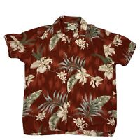 Paradise Found Mens Large Red Floral 100% Rayon Short Sleeve Button Front
